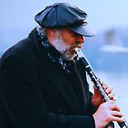 Jazz Man On The Charles Bridge Prague by Ronald Rockman