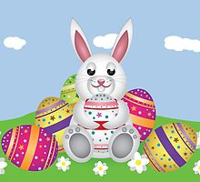 White bunny with Easter eggs 2 by AnnArtshock
