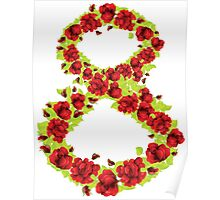 Number 8 made from flowers Poster
