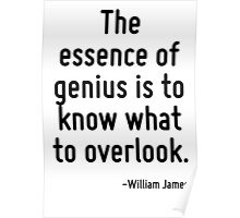 The essence of genius is to know what to overlook. Poster