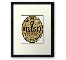 Irish Firefighter - oval label Framed Print