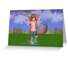 Puddles .. a fairy in the rain Greeting Card