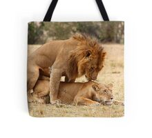 Apparent Tenderness. Lions Copulating, Maasai Mara, Kenya  Tote Bag