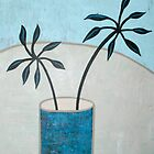 Leaves in blue vase by natasa sears