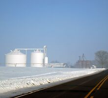 Chilly Silos in the Snow by Donna R. Carter