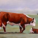 """Hereford Mom"" Cattle Print by ToniGrote"