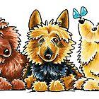 3 Australian Terriers by offleashart