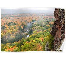 Foggy Autumn Morning at Porcupine Mountains Carp River Valley Poster