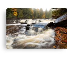 Misty Morning at Manido Falls - Upper Peninsula of Michigan Canvas Print