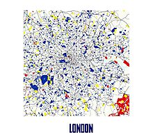 London Piet Mondrian Style City Street Map Art Photographic Print