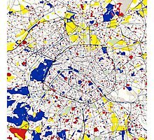 Paris Piet Mondrian Style City Street Map Art Photographic Print