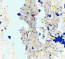 Seattle Piet Mondrian Style City Street Map Art by Adam Asar