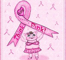 Pink Ribbon Pig For Awareness Art Poster by Jamie Wogan Edwards