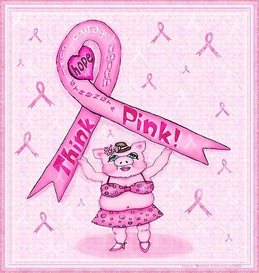 Pink Ribbon Pig For Awareness Art Poster by Jamie Wogan Edwards