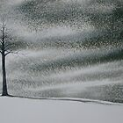 Solitary Tree in Snow Storm by David Hayward