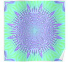 Bright Green and Purple abstract Poster