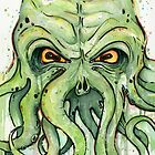 Cthulhu Watercolor by OlechkaDesign
