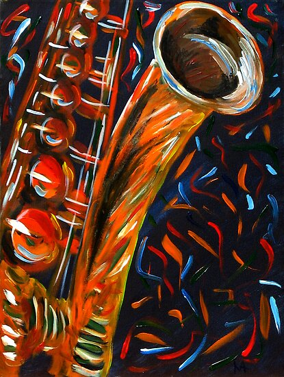 """""""Saxophone"""" original signed acrylic painting on canvas by Michael Arnold"""