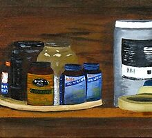 """Art Shelf"" original signed acrylic painting on canvas by Michael Arnold"