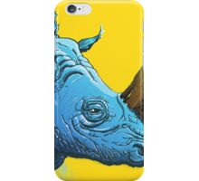Blue Rhino on Yellow Background iPhone Case/Skin