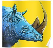 Blue Rhino on Yellow Background Poster
