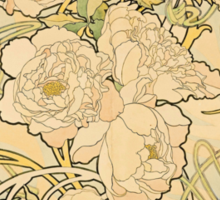 'Peonies' by Alphonse Mucha (Reproduction) Sticker