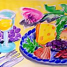 WHITE  WINE , CHEESE  &  FRUIT  PLATTER by ART PRINTS ONLINE         by artist SARA  CATENA