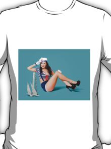 Gorgeous pin up sailor girl wearing hat T-Shirt