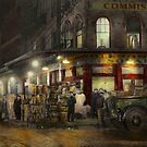 City - NY - Washington Street Market, buying at night - 1952 by Mike  Savad