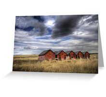 Five Red Barns Greeting Card