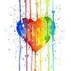 Rainbow Watercolor Heart by OlechkaDesign