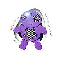 Oki Purple Robot - Never Fear Oki's Here! Photographic Print