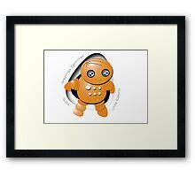 Toshi Orange Robot - Greetings Earthlings! Framed Print