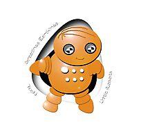 Toshi Orange Robot - Greetings Earthlings! Photographic Print