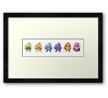 Six Little Robots in a Row Framed Print