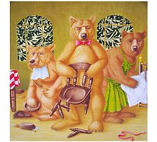 Goldilocks & the Three Bears - story book cover (w/c on c/pressed Illust bd) by Rory Stapleton