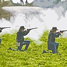 Stylized photo of three Civil War re-enactor soldiers on battlefield firing rifles. by NaturaLight