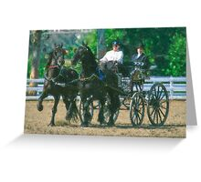 Impasto-stylized photo of a woman driving an Andalusian horse-drawn carriage in dressage competition at Del Mar Horsepark in Del Mar, CA US. Greeting Card