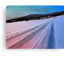 Path up to the mountains in winter time | landscape photography Canvas Print