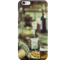 Man tapas and glass of beer in Spanish bar square Hasselblad medium format  c41 color film analogue photo iPhone Case/Skin