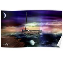 Sailing through the Night Sky Poster