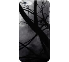 Tree branches in silhouette against winter sky black and white silver gelatin 645 medium format film analog photo iPhone Case/Skin