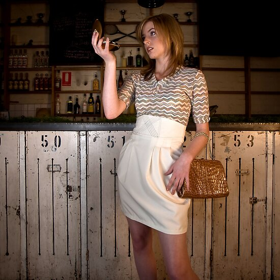 Lelia in 'Tulip skirt with boned waist and Jersey Tank Top' by Lisa Defazio