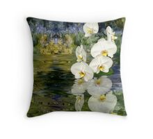 Water Orchids Throw Pillow
