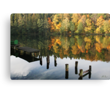 The old wharf in the autumn morning in fall Canvas Print