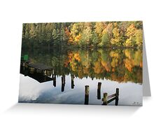 The old wharf in the autumn morning in fall Greeting Card