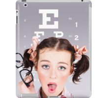 Vision impaired woman at optometrist iPad Case/Skin