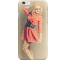Retro yellow portrait of a beauty pinup girl iPhone Case/Skin