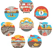 Wes Anderson Films Icon Illustrations by wata1989