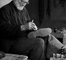 Street Cobbler at Work by Peter Evans